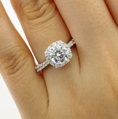 2.50 Ct 14K Real White Gold Fancy Round Cut with Pave Set Side Stones Illusion Halo Setting Solitaire Engagement Wedding Propose Promise Ring