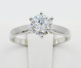 1.00 Ct 14K Real White Gold Cathedral Setting 6 Prong Round Cut Solitaire Engagement Propose Promise Ring
