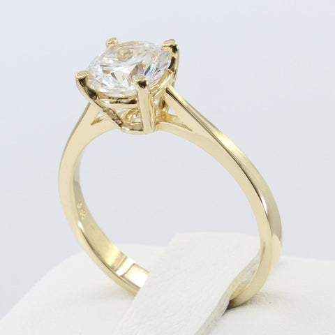 1.00 Ct 14K Real Yellow Gold Round Cut Classic 4 Prong Basket Setting Solitaire Engagement Wedding Bridal Propose Promise Ring