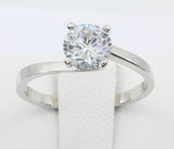 1.00 Ct 14K Real White Gold Twist Round Cut 4 Prong Solitaire Engagement Wedding Bridal Propose Promise Ring