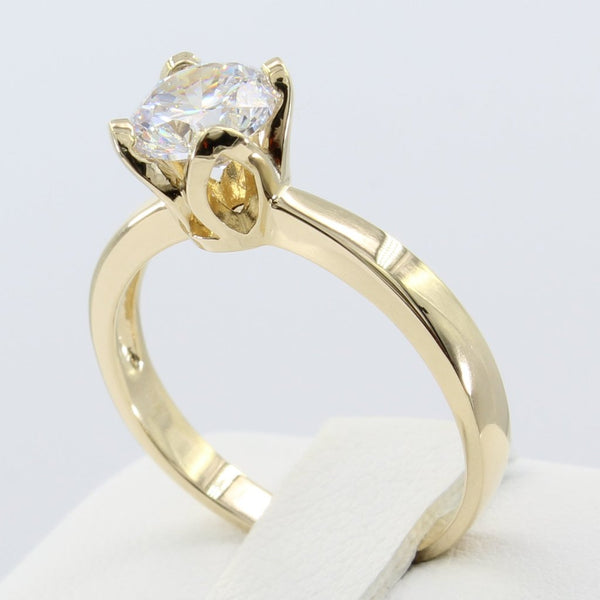 1.00 Ct 14K Real Yellow Gold Round Cut Fancy Cathedral Setting Solitaire Engagement Wedding Bridal Propose Promise Ring