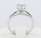 1.00 Ct 14K Real White Gold Round Cut 4 Double Prong Cathedral Setting Classic Solitaire Engagement Wedding Bridal Propose Promise Ring with stones on the side