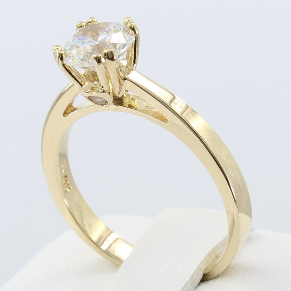 1.00 Ct 14K Real Yellow Gold Round Cut Fancy Cathedral Setting Solitaire Engagement Wedding Bridal Propose Promise Ring with double prongs and stone on the side