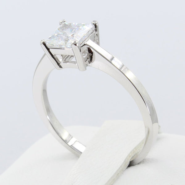 1.00 Ct 14K Real White Gold Princess Cut Classic Solitaire Engagement Wedding Propose Promise Ring