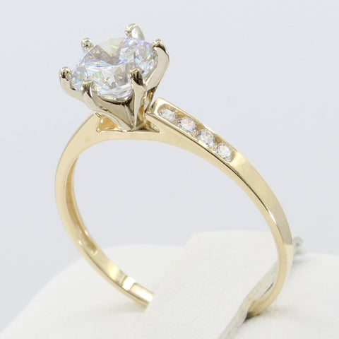 1.25 Ct 14K Real Yellow Gold Round Cut 6 Prong Cathedral Setting with Channel Set Side Stones Classic Engagement Wedding Bridal Propose Promise Ring