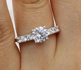 1.50 Ct 14K Real White Gold Round Cut with Side Stones 4 Prong Basket Setting Engagement Wedding Bridal Propose Promise Ring