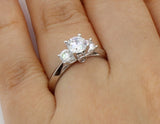 1.00 Ct 14K Real White Gold Round 3 Three Stones Engagement Wedding Propose Promise Ring