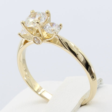 1.00 Ct 14K Real Yellow Gold Round Cut 3 Three Stones 4 Prong Setting Engagement Wedding Bridal Propose Promise Ring
