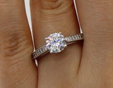 1.50 Ct 14K Real White Gold Round Cut with Pave Set Side Stones 4 Prong Basket Setting Engagement Wedding Bridal Propose Promise Ring