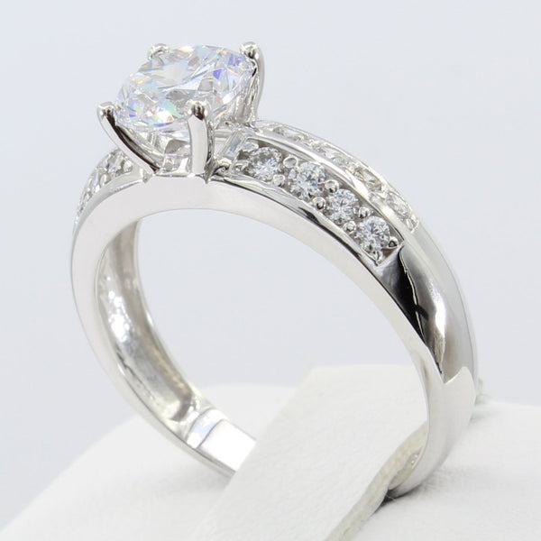 1.50 Ct 14K Real White Gold Round Cut with Double 2 Lines Rows Pave Set Side Stones 4 Prong Engagement Wedding Propose Promise Ring