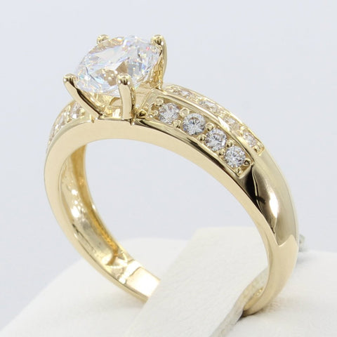 1.50 Ct 14K Real Yellow Gold Round Cut with Round Pave Set Side Stones 2 Lines Double Row 4 Prong Cathedral Setting Engagement Wedding Propose Promise Ring