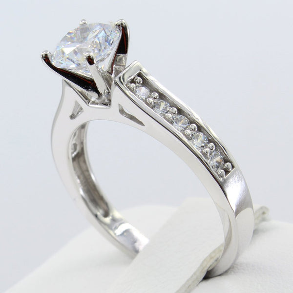 1.50 Ct 14K Real White Gold Round Cut with Pave Set Side Stones 4 Prong Cathedral Setting Engagement Wedding Propose Promise Ring