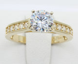 1.50 Ct 14K Real Yellow Gold Round Cut with Pave Set Side Stones 4 Prong Cathedral Setting Engagement Wedding Propose Promise Ring