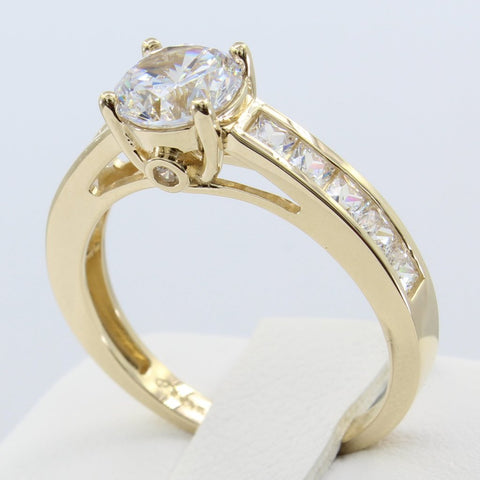 2.00 Ct 14K Real Yellow Gold Round Cut with Square Princess Channel Set Side Stones 4 Prong Trellis Basket Setting Engagement Wedding Propose Promise Ring