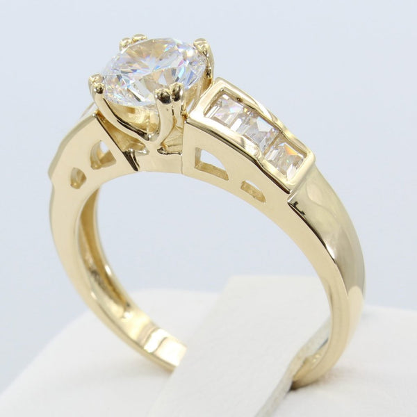 1.50 Ct 14K Real Yellow Gold Round Cut with Baguette Channel Set Side Stones 4 Double Prong Cathedral Setting Fancy Engagement Wedding Bridal Propose Promise Ring