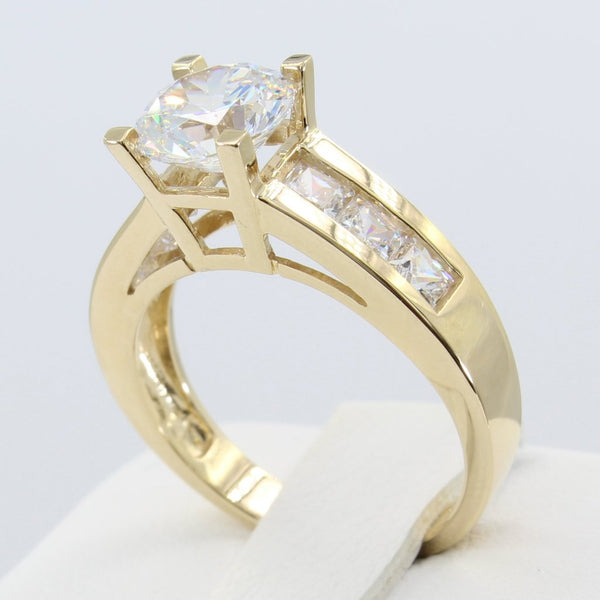 1.75 Ct 14K Real Yellow Gold Round Cut Center with Square Princess Cut Channel Set Side Stones 4 Prong Cathedral Setting Engagement Wedding Propose Promise Ring