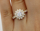 1.50 Ct 14K Real Yellow Gold Round Cut with Side Stones Illusion Halo Setting Cluster Flower Shape Engagement Wedding Propose Promise Ring