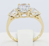 2.00 Ct 14K Real Yellow Gold Round Center with Heart Shape Cut Side Stones 3 Three Stones 4 Prong Basket Setting Wedding Engagement Propose Promise Ring0