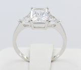 2.00 Ct 14K Real White Gold 3 Three Stones Emerald Cut Center and Trillion Triangle Shape Side Stones 4 Prong Basket Setting Engagement Wedding Propose Promise Ring