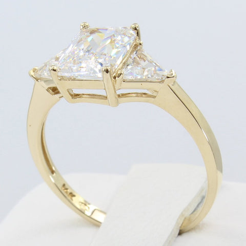 2.00 Ct 14K Real Yellow Gold 3 Three Stones Emerald Cut Center and Trillion Triangle Shape on Sides 4 Prong Basket Setting Engagement Wedding Propose Promise Ring