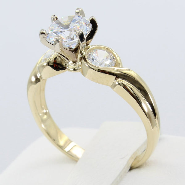 1.50 Ct 14K Real Yellow Gold 3 Three Stones Round Cut 6 Prong Cathedral Setting Fancy Twist Engagement Wedding Propose Promise Ring