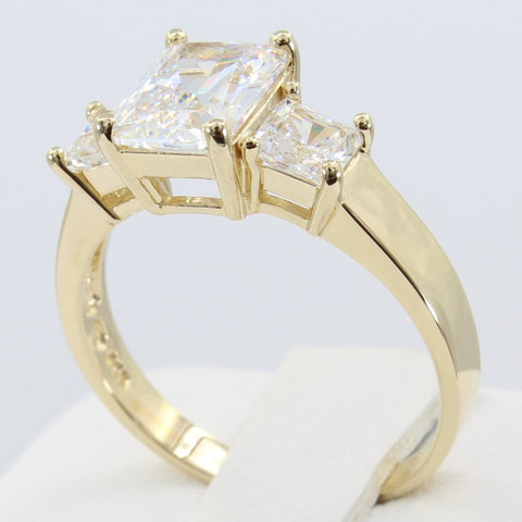 2.50 Ct 14K Real Yellow Gold Three 3 Stones Emerald Cut Center and Princess Cut Side stones 4 Prong Basket Setting Wedding Engagement Propose Promise Ring