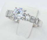 2.00 Ct 14K Real White Gold Round Cut with Baguette Bar Set Side Stones 4 Prong Cathedral Setting Engagement Wedding Propose Promise Ring