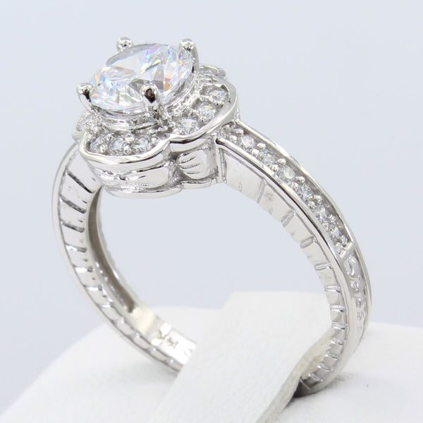 1.50 Ct 14K Real White Gold Round Cut with Pave Set Side Stones Fancy Illusion Halo Setting Engagement Wedding Propose Promise Ring