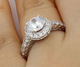 2.25 Ct 14K Real White Gold Fancy Round Cut Center with Pave Set Side Stones Illusion Halo Setting Engagement Wedding Bridal Propose Promise Ring