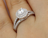 1.50 Ct 14K Real White Gold Round Cut with Pave Set Side Stones Illusion Halo Setting Engagement Wedding Bridal Propose Promise Ring