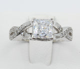 2.00 Ct 14K Real White Gold Square Princess Cut with Round Pave Set Side Stones Fancy Crossover Engagement Wedding Propose Promise Ring