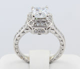 2.00 Ct 14K Real White Gold Square Princess Cut with Round Pave Set Side Stones Fancy Vintage Antique Style Engagement Wedding Propose Promise Ring