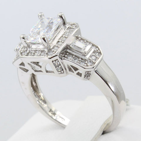 2.50 Ct 14K Real White Gold Fancy Emerald Cut Center with Baguette and Round Bar Pave Set Side Stones Engagement Wedding Propose Promise Ring