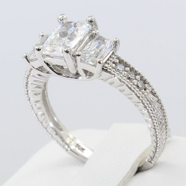 1.75 Ct 14K Real White Gold Emerald Cut 3 Three Stones Trellis Basket Setting Vintage Antique Style Engagement Wedding Propose Promise Ring