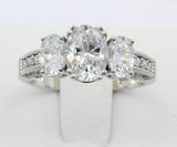 2.50 Ct 14K Real White Gold 3 Three Stones Oval Cut Center With Oval Round Side Stones 4 Double Prong Basket Setting Vintage Antique Style Engagement Wedding Propose Promise Ring