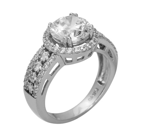 3.00 Ct 14K Real White Gold Big Modern Fancy Round Cut Center with Pave Set Side Stones Illusion Halo Setting Wedding Engagement Wedding Promise Propose Ring