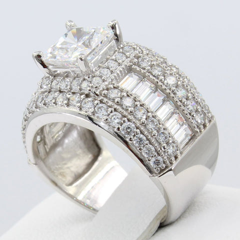 5.00 Ct 14K Real White Gold Big Fancy Square Princess Cut Center with Baguette & Round Channel Pave Set Side Stones Engagement Wedding Bridal Propose Promise Ring Band