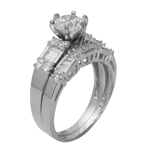 4 Ct 14K White Gold Round Cut Channel Pave Set Side Stones Cathedral Engagement Matching Band 2 Ring