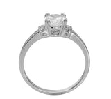 1.50 Ct 14K Real White Gold Round Cut with Pave Set Side Stones 4 Double Prong Basket Setting Engagement Wedding Bridal Propose Promise Ring