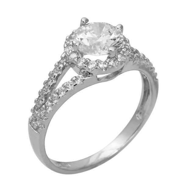 1.75 Ct 14K Real White Gold Round Cut with Pave Set Side Stones Double Lines 2 Rows Illusion Halo Setting Engagement Wedding Bridal Propose Promise Ring