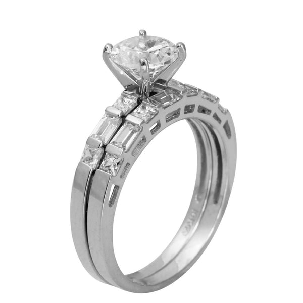 2.50 Ct 14K Real White Gold Round Cut with Princess and Baguette Bar Set Side Stones 4 Prong Cathedral Setting Engagement Wedding Propose Promise Ring with Matching Band Duo 2 Ring Set