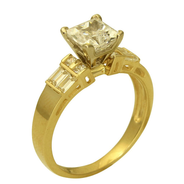 2.25 Ct 14K Real Yellow Gold Square Princess Cut Center with Princess Baguette Bar Set Side Stones 4 Prong Cathedral Setting Engagement Wedding Bridal Propose Promise Ring