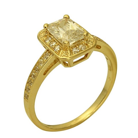 1.50 Ct 14K Real Yellow Gold Emerald Cut with Round Pave Set Side Stones Engagement Wedding Promise Propose Ring