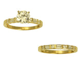 2.50 Ct 14K Real Yellow Gold Round Cut with Princess and Baguette Cut Bar Set Side Stones 4 Prong Cathedral Setting Engagement Wedding Propose Promise Ring with Matching Band Duo 2 Ring Set