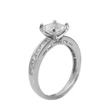 3.50 Ct 14K White Gold Square Princess Cut Center with Princess Channel Set Side Stones 4 Prong Cathedral Setting Engagement Wedding Propose Promise Ring with Matching Band Duo 2 Ring Set
