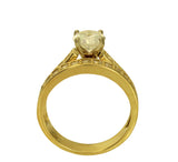 2.5 Ct 14K Yellow Gold Round Cut Side Stones Matching Band 4 Prong Cathedral Setting Engagement Ring