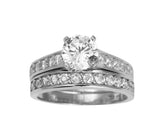 2.50 Ct 14K White Gold Round Cut Side Stones Matching Band 4 Prong Cathedral Setting Engagement Ring