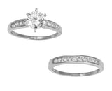 2.00 Ct 14K Real White Gold Round Cut with Channel Set Side Stones 6 Prong Engagement Wedding Propose Promise Ring with Matching Band Duo 2 Ring Set