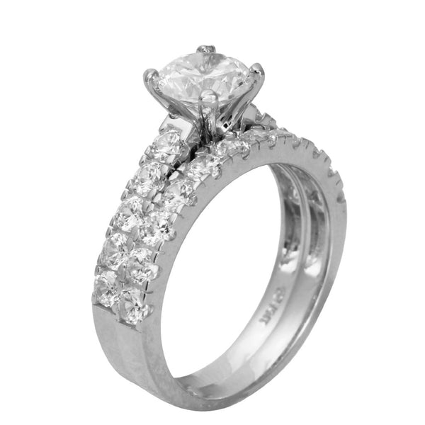 2.50 Ct 14K Real White Gold Round Cut with Round Pave Set Side Stones 4 Prong Cathedral Setting Engagement Wedding Propose Promise Ring with Matching Band Duo 2 Ring Set