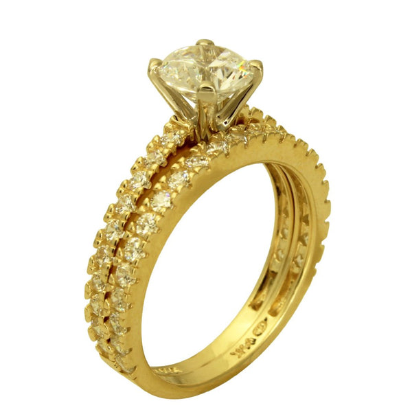 2.50 Ct 14K Real Yellow Gold Round Cut with Round Pave Set Side Stones Matching Band 4 Prong Cathedral Setting Engagement Wedding Propose Promise Ring Duo 2 Ring Set
